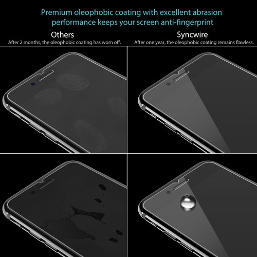 syncwire protector de pantalla para iphone 8/7 / 6s / 6 3-pa