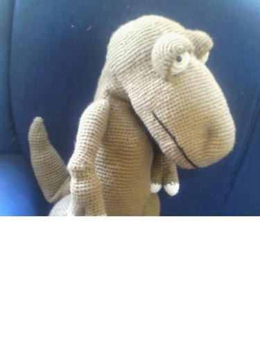 t - rex dino amigurumi gigante em crochê - sob encomenda