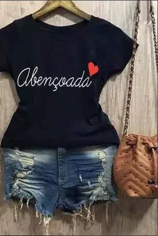 3980e9dce T Shirt Abençoada Curta Blusas Femininas Moda Instagram - R$ 24,99 ...