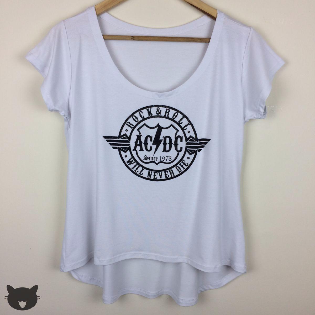 c7132cdda9 T-shirt Camiseta Blusa Feminina Mullet Rock Roll Old Acdc Ok - R  19 ...
