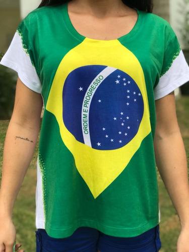 t shirt feminina brasil camiseta bandeira blusa copa verde