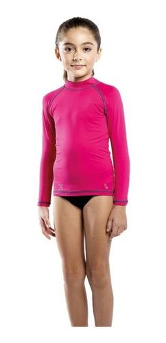 t-shirt lupo infantil com proteção solar uv 50+ rosa