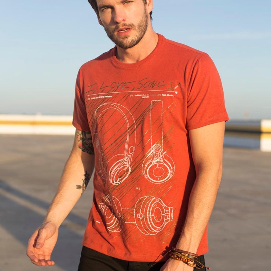 3efb36264878 t-shirt masculina terrosa com estampa fone de ouvido. Carregando zoom.