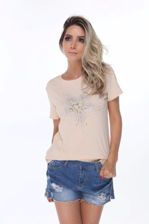 e1d9732db T Shirt Perolas Pedraria Tendencia Moda Instagram Verão 2018 - R$ 29 ...