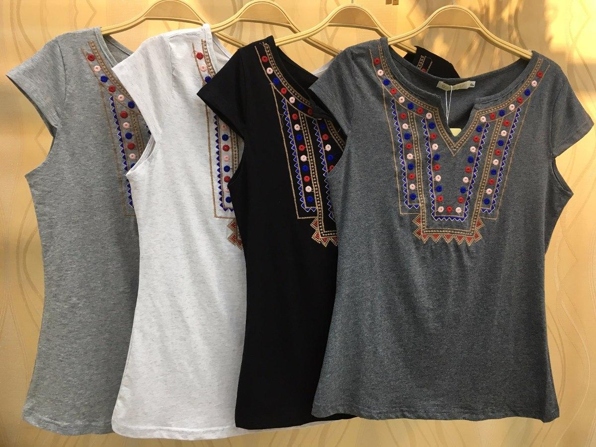 9329bdbd8 T-shirts Camiseta Feminia Malha De Bordados  8816 - R  50