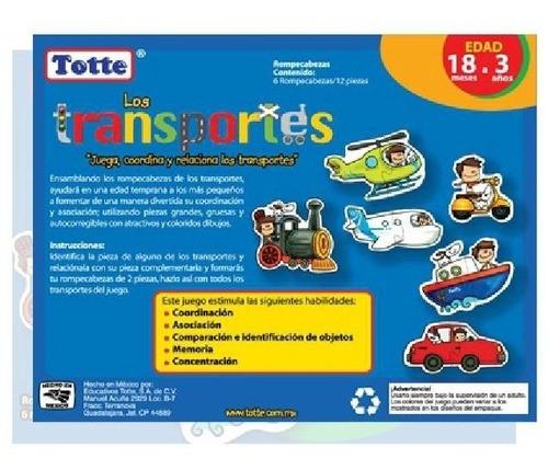 t040 transportes rompecabeza bebé 18 meses 12 piezas totte