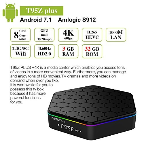 t95z plus android tv caja android 71 amlogic s912 octa core