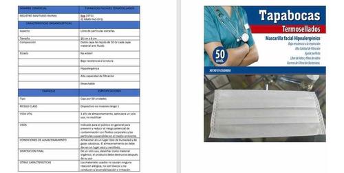 tababocas termosellados caja x 50 blancos