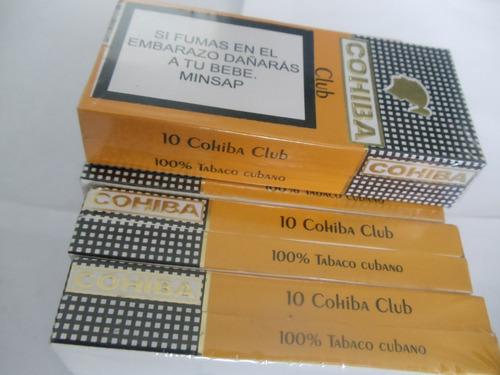 tabaco cohiba club 10 100% original cubanos cajetilla de 10