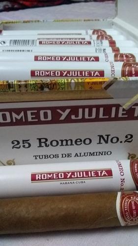 tabaco habano romeo y julieta no.2 en tubos de aluminio