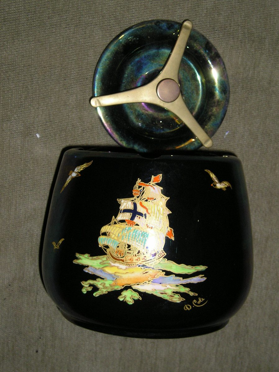 Tabaquera antigua crown devon de porcelana inglesa firmada - Porcelana inglesa antigua ...