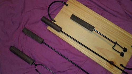 tabla asado accesorios asador x5 kit herramientas parrilla