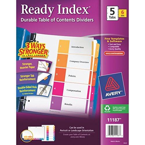 tabla avery índice de contenidos ready divisores, 5-conjunt