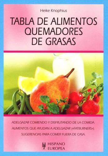 tabla de alimentos quemadores de grasas, hispano europea