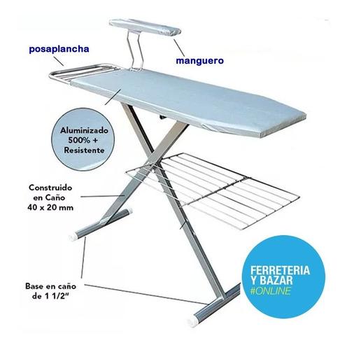 tabla de planchar reforzada tela metalizada caño blanco