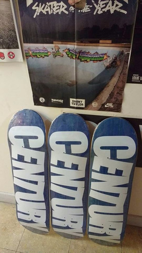 tabla de skate century logo azul + blanco - envíos