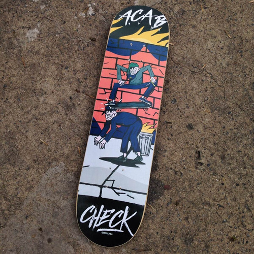 tabla de skate check skateboards + lija (9 diseños)