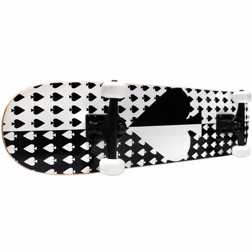 tabla de skate kcp pro  completa blanco y negro de espada