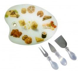 tabla de vidrio para quesos con utensilios cocina mesa