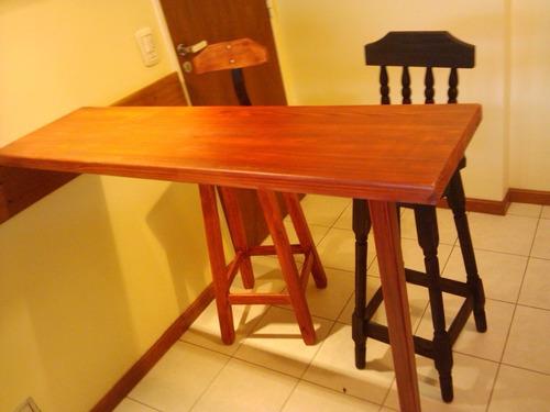 tabla desayunador madera dura entablonada + pata de madera. mader shop