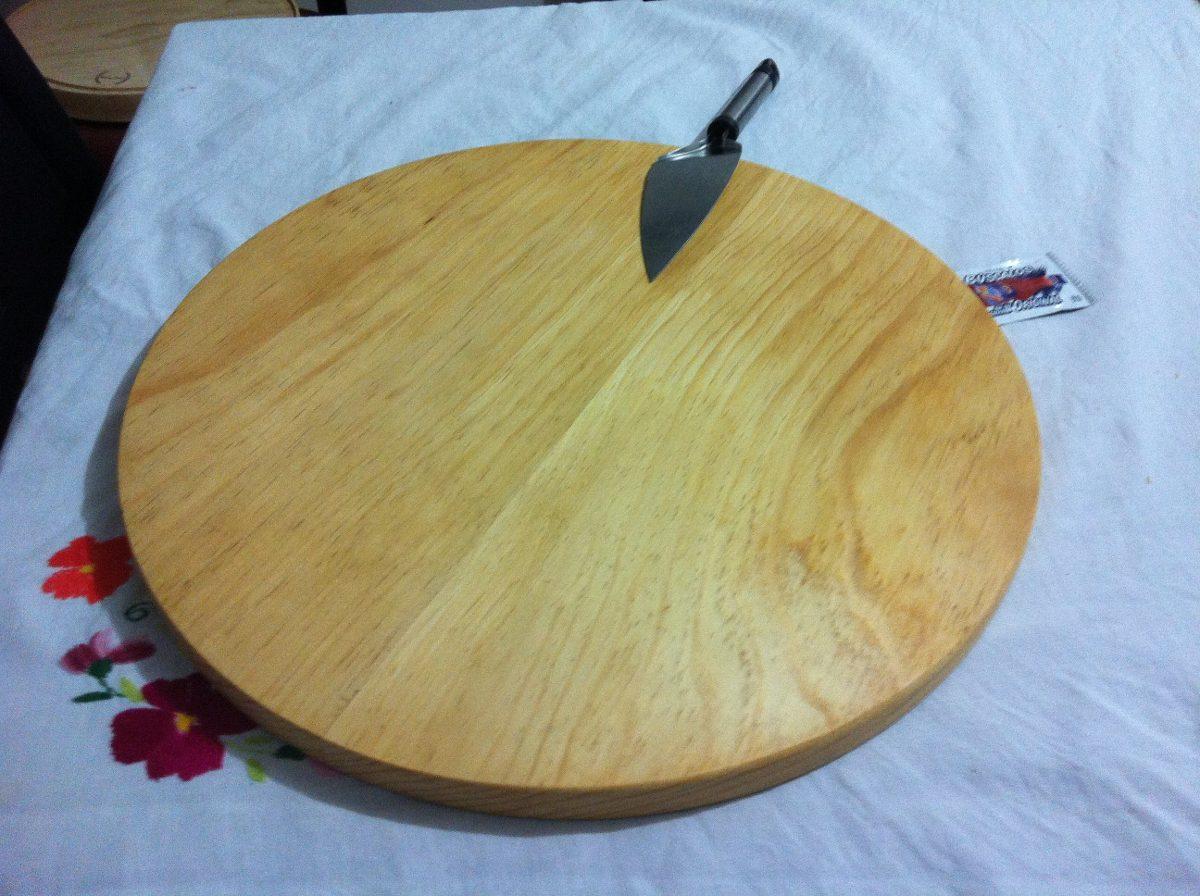 Tabla madera pino circular plato para pizza redonda 44cm - Tablas de madera a medida ...