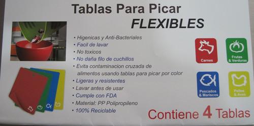tabla para picar flexible paquete de 4 pzas