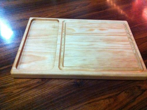 tabla plato madera pino  2 cm  asado 19 x 30cm jgo. 10 pzas