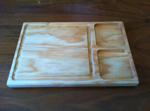 tabla plato madera pino  2 cm para  carnes asado 19 x 30cm
