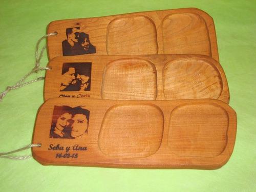 tabla souvenir casamiento personalizado rostro - 2 cuencos