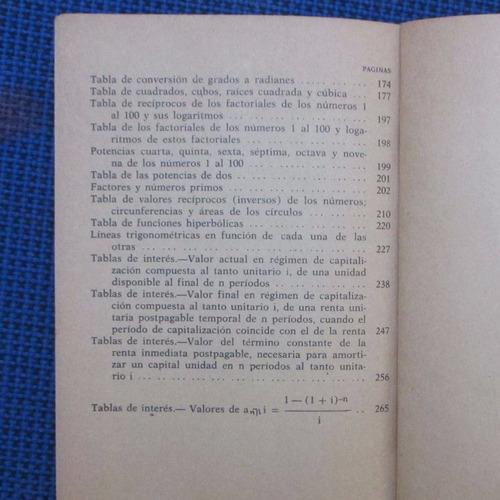 tablas de logaritmos y otras tablas matematicas, editorial h