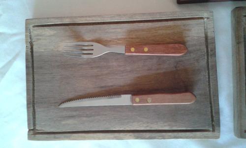 tablas parrilleras 4unid,servilletero + tenededor + cuchillo