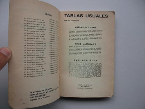 tablas usuales - lascurain / lambiase / roca