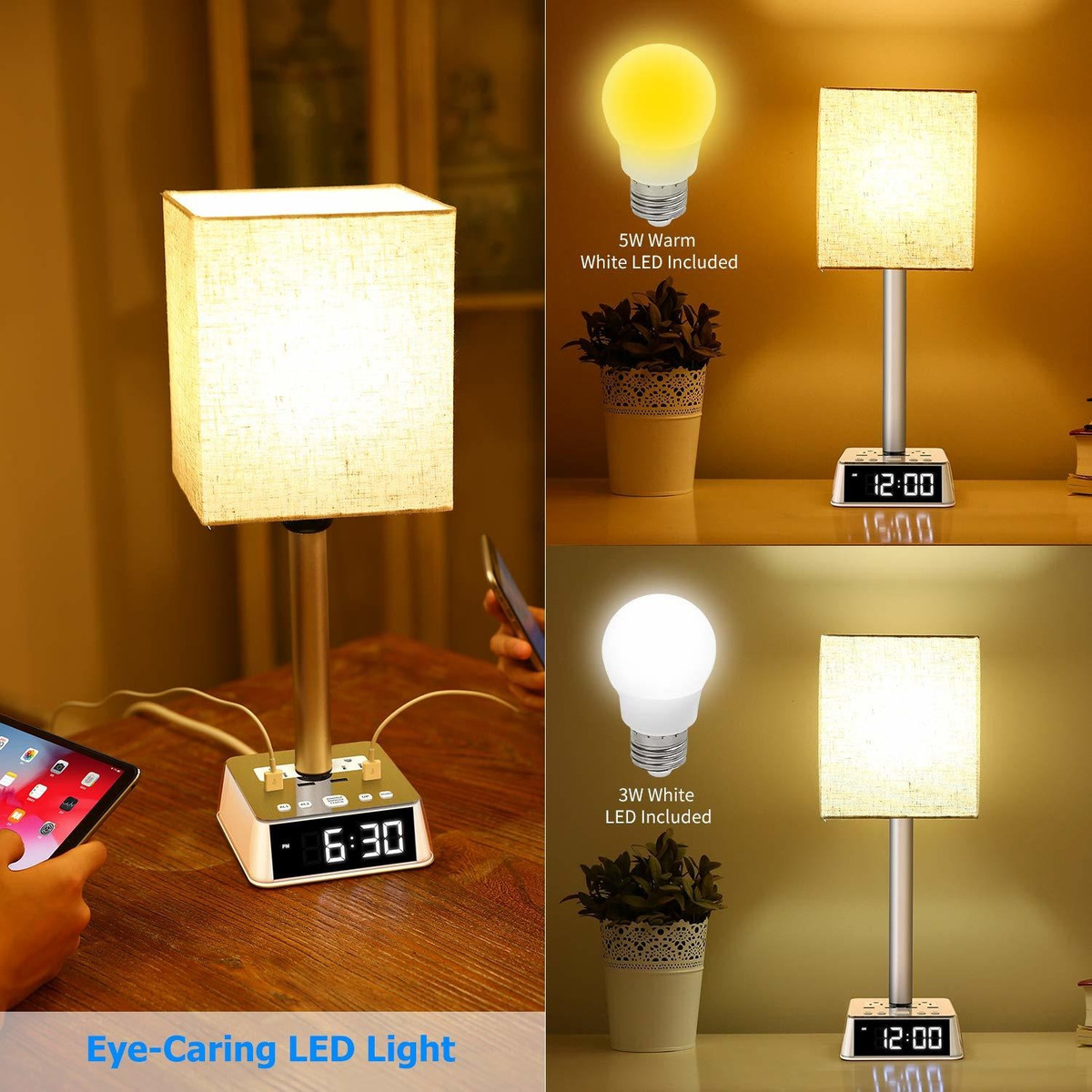 Picture of: Table Lamp Bedside Table Lamps With Usb Ports And Ac 446 999 En Mercado Libre