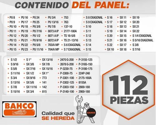 tablero bahco panel new special 112 piezas con chapon