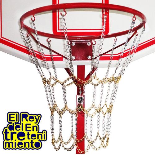 tablero basket c/ base + aro + red cadenas + pelota - el rey