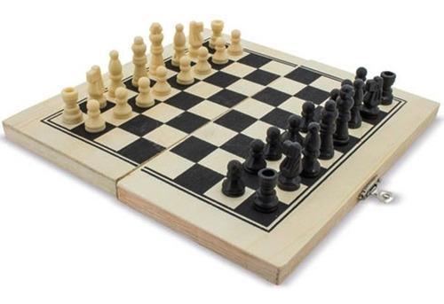 tablero de ajedrez en madera 3 en 1  backgammon damas chess