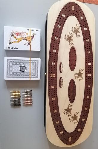 tablero de cribbage, 2 barajas, 12 clavijas, 4 pistas