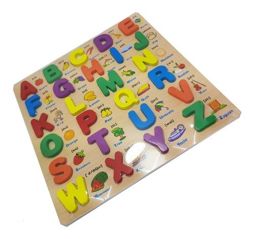 tablero encajar letras didáctico madera ingles