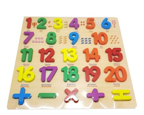 tablero encajar números didáctico madera ingles español
