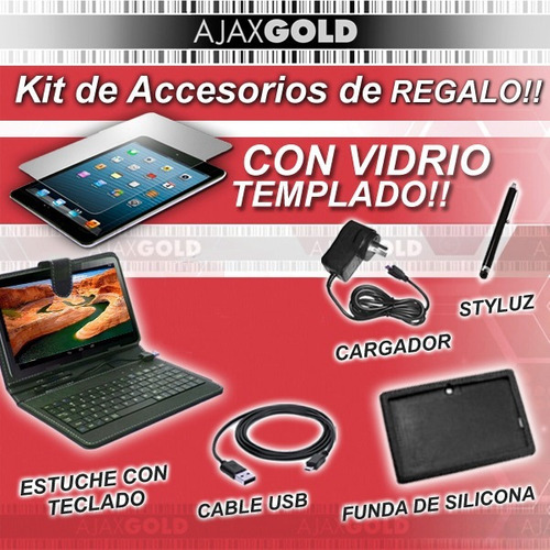 tablet 10 android quad core netbook funda teclado + templado