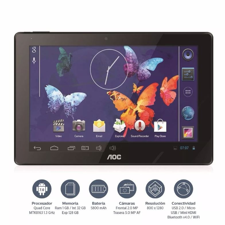 fbc77cd1aba Tablet 10.1 Aoc Quadcore Ram 1gb Rom 32gb 1280x800 5mpx - $ 5.078,99 ...