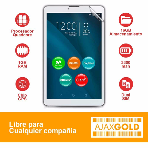 tablet 4g telefono android quadcore pc dual chip + auricular