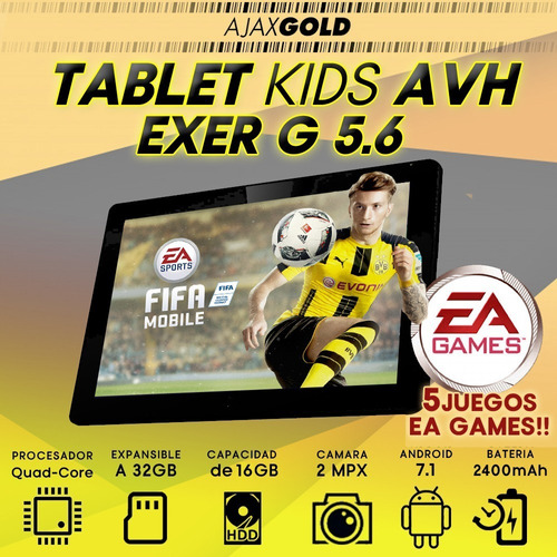 tablet 7 avh excer android 7.1 ips 16gb hd 3g + fifa + sims