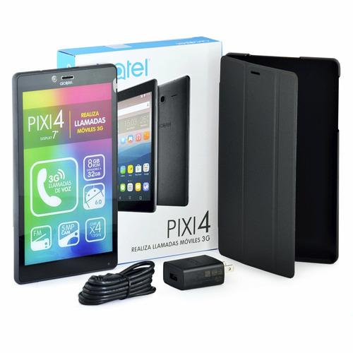 tablet alcatel pixi4 7.0'', llamadas 3g, 8gb, fm + estuche