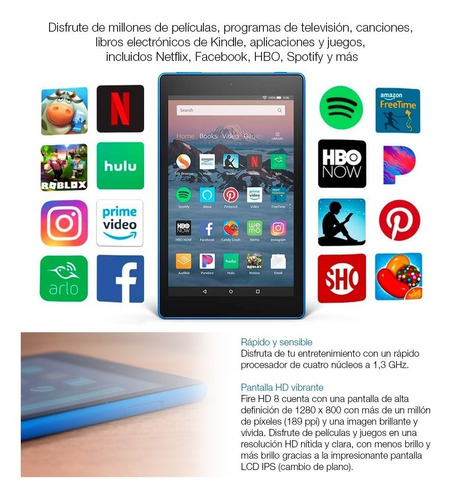 tablet amazon fire 8' quad core 32gb 1.5gb ram bt loi chile