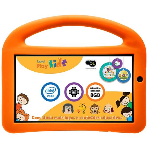 tablet dl play kids intel - tela 7, 8gb - branco/laranja