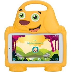 Tablet Dl Playkids 8gb Tela 7   Wi-fi Laranja- Capa Cachorro