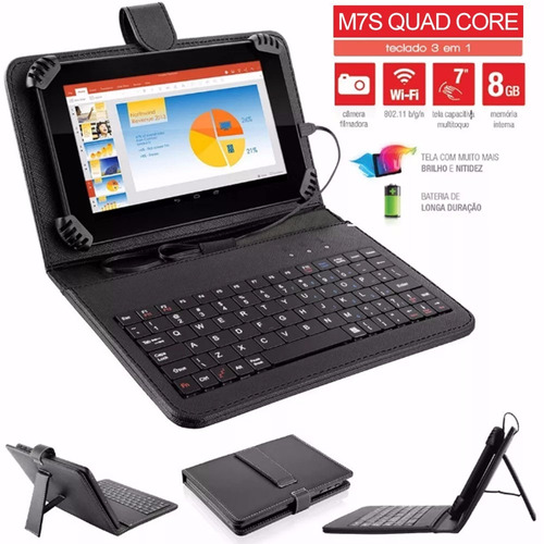 tablet e capa teclado m7s quad core android 4.4 wifi 8gb 7''