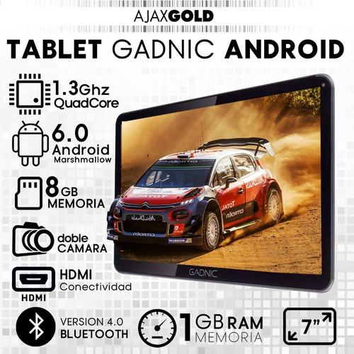 tablet gadnic 7 android 4k hdmi 4g y funda netbook de regalo