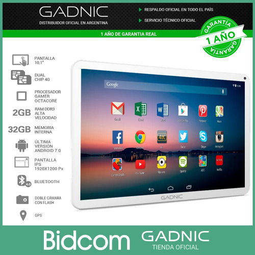 tablet gadnic gamer 10 pulgadas dual chip celular 4g android 2gb 32gb